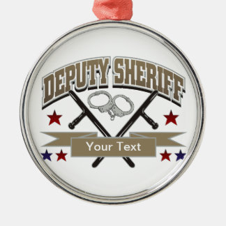 Personalized Deputy Sheriff Silver-Colored Round Decoration