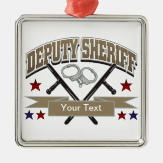 Personalized Deputy Sheriff Silver-Colored Square Decoration