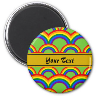 Personalized design with seamless rainbow pattern 6 cm round magnet