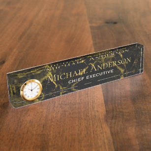 6854744fe29d Personalized Desk NAME Plate Black GOLD MARBLE