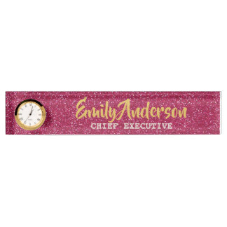 Personalized Desk NAME Plate PINK GLITTER GOLD