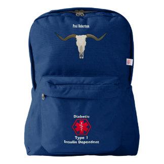 Personalized Diabetes Longhorn Skull Medi Alert Backpack