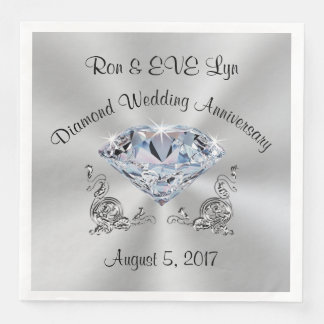 Personalized Diamond 60th Anniversary Napkins Disposable Serviettes