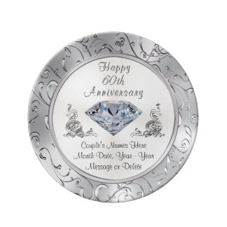 Personalized Diamond 60th Anniversary Plate Porcelain Plate