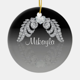 Personalized Diamond Angel Wings Round Ceramic Decoration