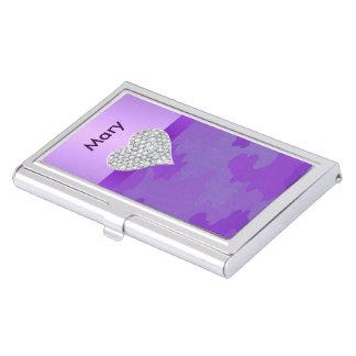 Personalized Diamond Heart Purple Camo Card Holder