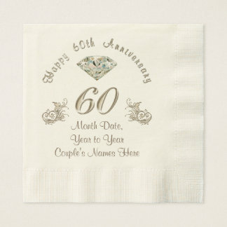 Personalized Diamond Wedding Anniversary Napkins Disposable Serviette