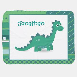 Personalized dinosaur baby fleece blanket. baby blanket