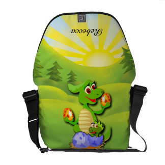 Personalized Dinosaur mother and baby cartoon Commuter Bags