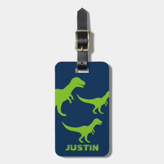 Personalized dinosaur travel luggage tag for kids