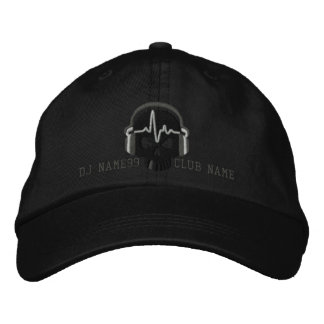 Personalized DJ Skull Your Name Club Embroidery Embroidered Hats