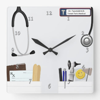 Personalized Doctor's Coat Square Wall Clock