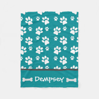 Personalized Dog Blanket Paws Name and Bones