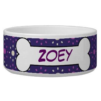 Personalized Dog Bone Ceramic Pet Bowl Purple
