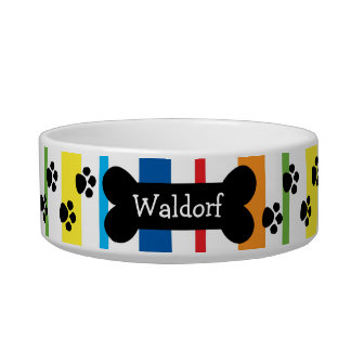 Personalized Dog Bowl With Paws and Bone