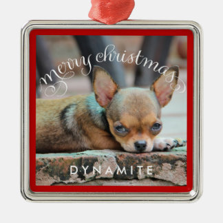 Personalized Dog Christmas Ornaments Metal Photo