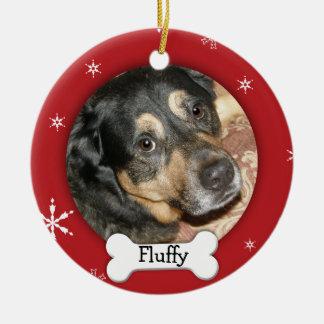 Personalized Dog/Pet Photo Holiday Round Ceramic Decoration