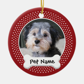 Personalized Dog Photo Frame - SINGLE-SIDED Double-Sided Ceramic Round Christmas Ornament