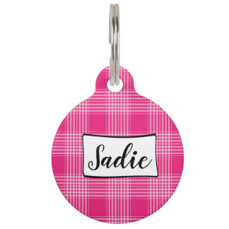 Personalized Dog Tags, Pink Plaid Add Name Pet ID Tag