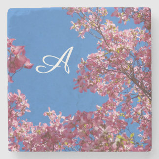 Personalized Dogwood Blossoms and Blue Sky Coaster