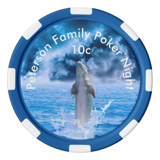 Personalized Dolphin In Gathering Storm Poker Chips