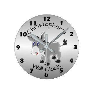 Personalized Donkey Design Round Clock