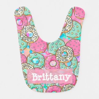 Personalized Donuts Pink and Teal Baby Girl Bib