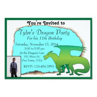 Personalized Dragon Birthday Party Invite w/ photo