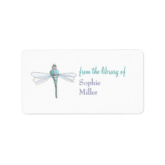 Personalized dragonfly bookplate sticker