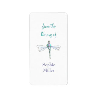 Personalized dragonfly bookplate sticker - vertica
