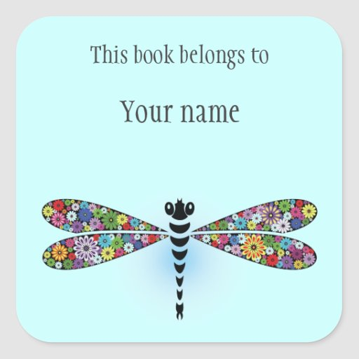 Personalized Dragonfly Sticker Bookplate