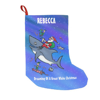 Personalized Dreaming of Great White Xmas Small Christmas Stocking