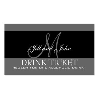 Personalized Drink Ticket for Wedding Reception Business Card Template