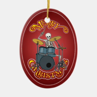 Personalized Drum Set Skeleton Xmas Ornament