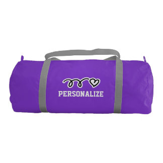 Personalized duffle gym bag with cute heart gym duffel bag