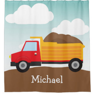 Personalized Dump Truck, Boy's Shower Curtain