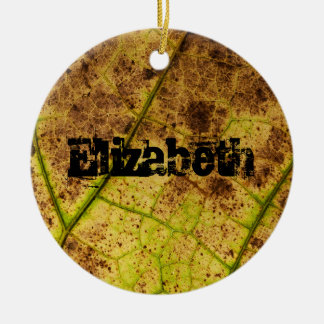 Personalized Earthy Yellow and Brown Leaf Macro Double-Sided Ceramic Round Christmas Ornament