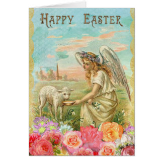 Personalized Easter Card Vintage Angel With Lamb