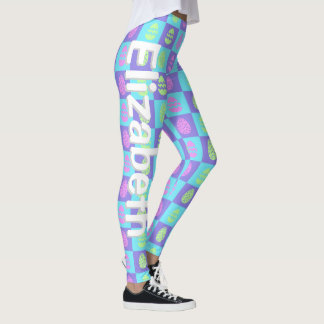 Personalized Easter Egg Checkerboard Pattern Leggings