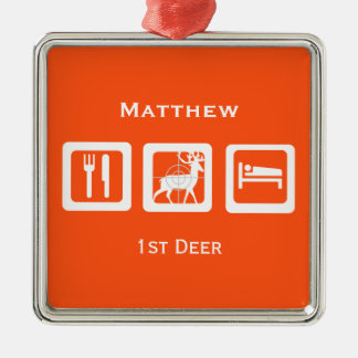 Personalized Eat Sleep Hunt 1st Deer Keepsake Silver-Colored Square Decoration