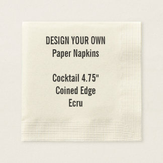 Personalized ECRU Coined Cocktail Paper Napkins