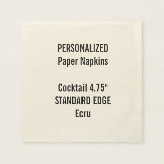 Personalized Ecru Standard Cocktail Paper Napkins