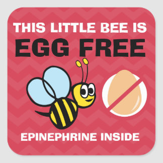 Personalized Egg Free Bumblebee Egg Allergy Alert Square Sticker