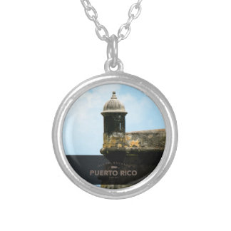 Personalized El Morro Puerto Rico Silver Plated Necklace