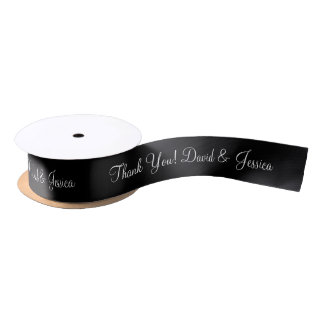 Personalized elegant black wedding favor ribbon satin ribbon