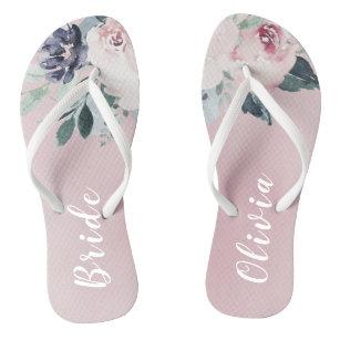 2ff5ee0080649b Personalized elegant blush floral bride flip flops