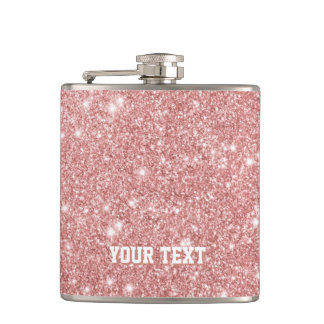 Personalized Elegant Chic Faux Glitter Rose Gold Hip Flask