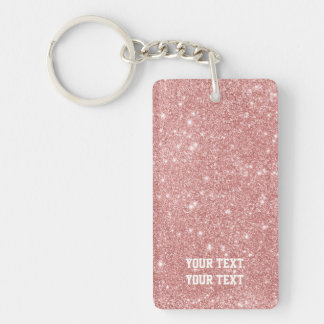 Personalized Elegant Chic Faux Glitter Rose Gold Key Ring