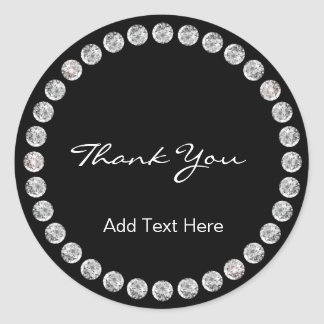 Personalized Elegant & Classy Black with Diamonds Classic Round Sticker
