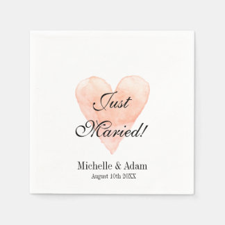 Personalized elegant coral heart wedding napkins disposable serviette